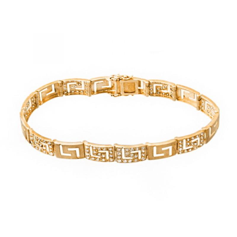 c51823bb36aa Pulsera oro amarillo de cenefa y circonitas.